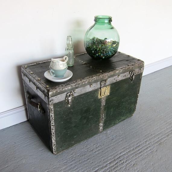 Industrial Green Antique Vintage Chest Trunk Storage 1920s Paul Krenkel