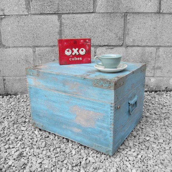 Vintage 1940s Baby Blue Old Wooden Military Box Storage