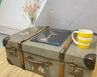 Vintage Travel Trunk Suitcase Old Storage Chest