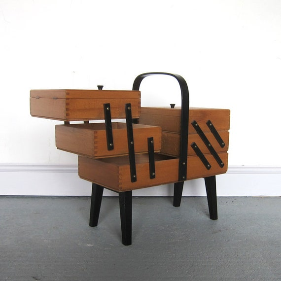 Cantilever Sewing Box Mid Century Modernist Old Original Storage Display