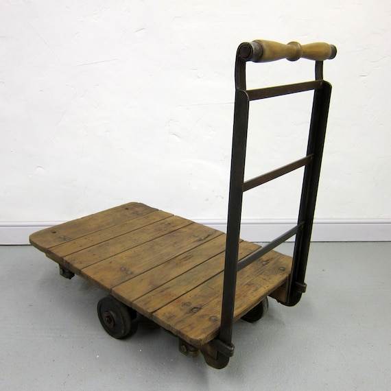 Industrial Pine Foundry Mill Cart Coffee Table Antique Factory Trolley