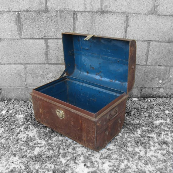 Antique Metal Industrial Trunk Chest Coffee Table