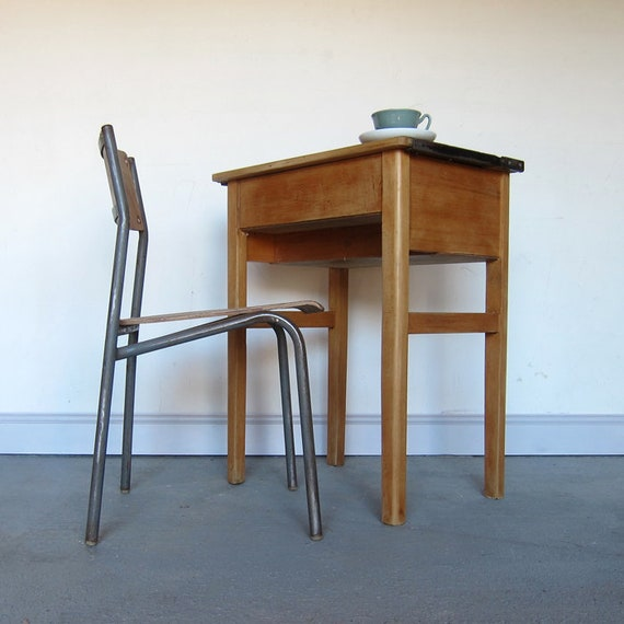 Vintage Single School Desk Chair 1970s Table Laptop Home Office Storage