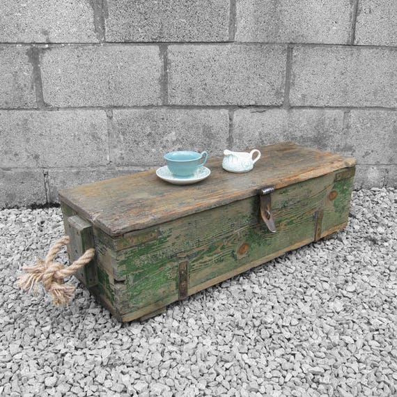 Rustic Pine Chest Trunk Storage Tools Box 1940s Industrial Green