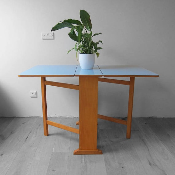 Blue Formica Kitchen Extending Dining Table Mid Century Kitsch 1960s Retro