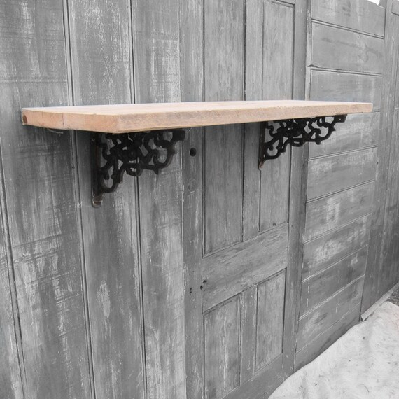 Pine Scaffold Board Shelf - Cherub Cast Iron Brackets