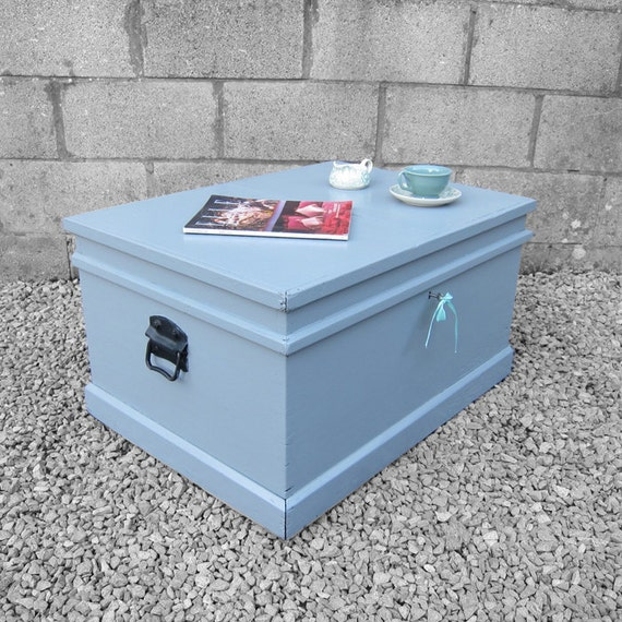 Pine Trunk Chest Grey Coffee Table Large Storage Box Complete with Key