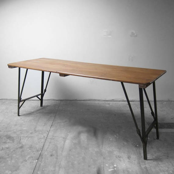 Vintage Folding Trestle Table Industrial Metal 1940s MOD Waxed Pine