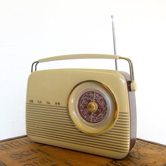 Vintage Bush Radio Red Cream Retro  *Fully Working
