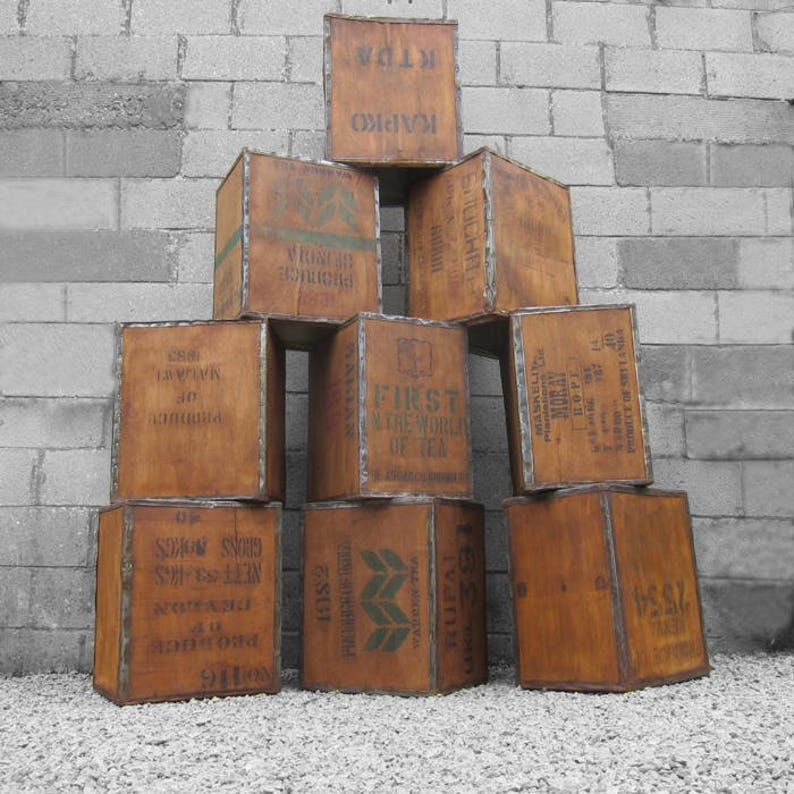 Antique Furniture Antiques 1 X Old Vintage Wooden Tea Chest Crate Side Table Coffee Furniture
