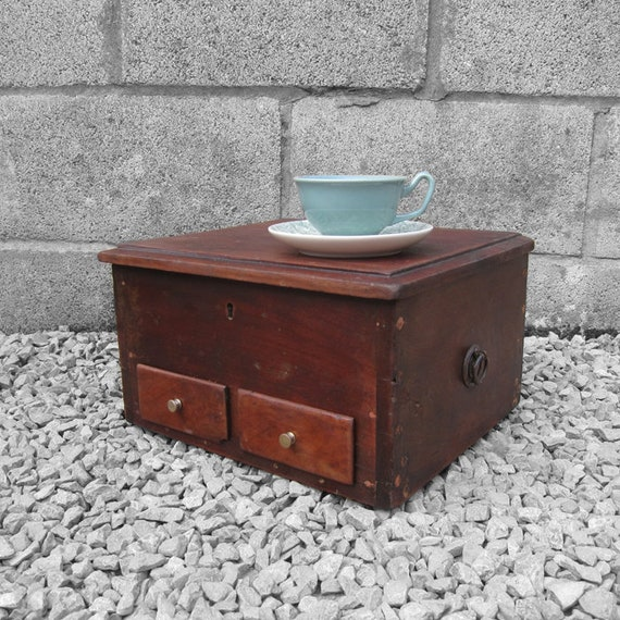 Vintage Mahogany Tools Box Storage Chest Display Chest