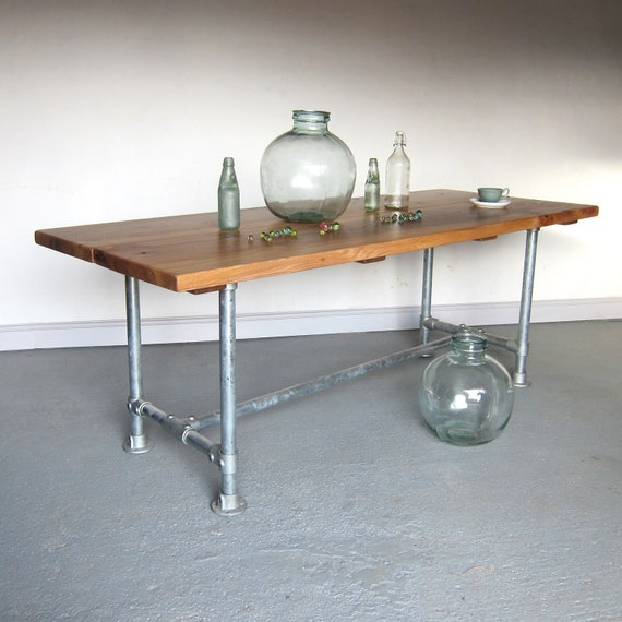 Rustic Industrial English Elm Dining Table Handcrafted Peak District Character