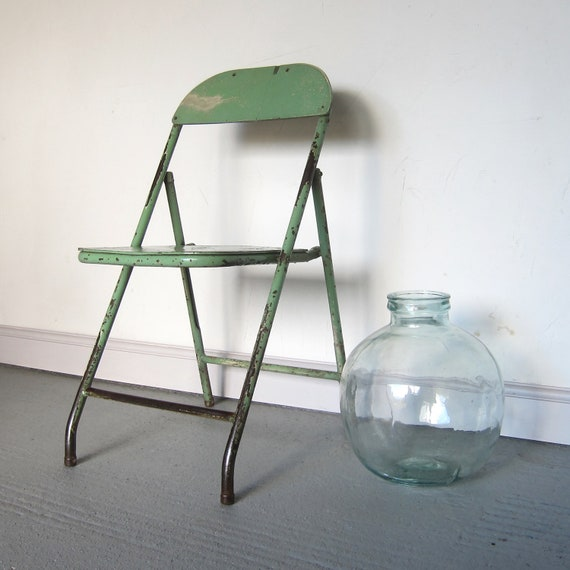 Industrial Folding Chair Vintage Seat Arsenic Green F&B