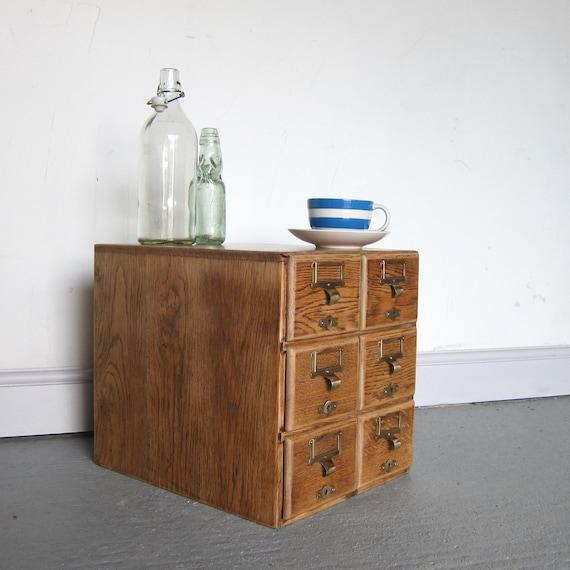 Vintage Oak Storage Drawers Office Desk Index Filing Cabinet 1940s