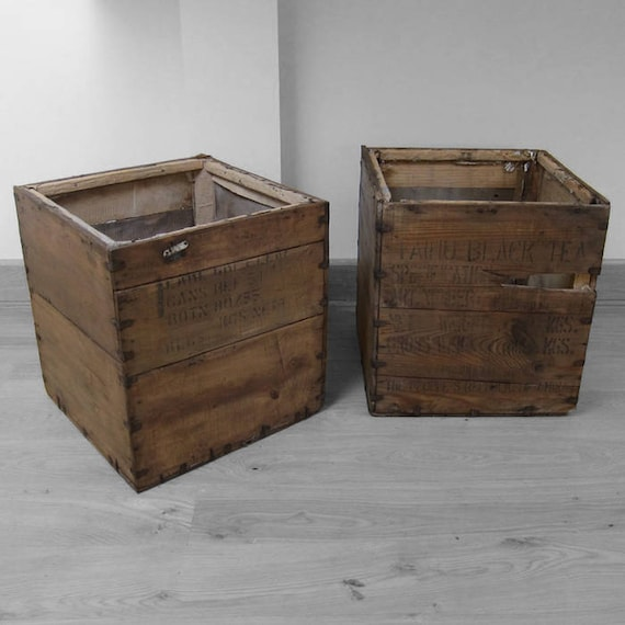 Tea Chest Pine Vintage Trunk Box Crate Storage Box Display Shop Log Basket