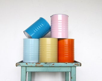 Colourful Metal Painted Tins Flower Pots Wedding Table Decoration