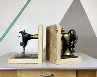 Up-Cycled Jones Sewing Machine Book Ends