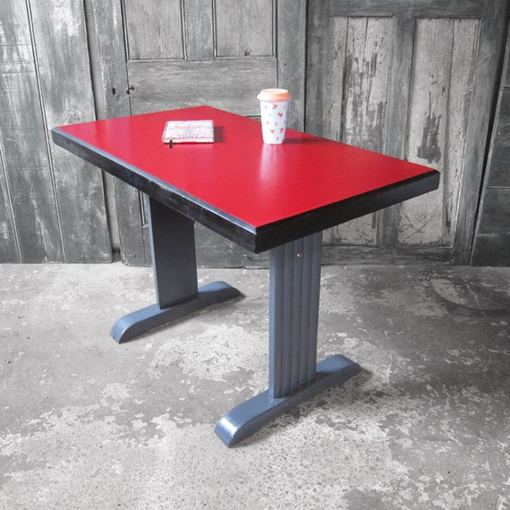 Mid centurty Formica Table French 1930s Red Kitchen Dining