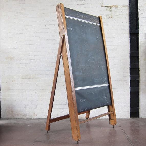 Vintage School Blackboard Revolving Chalkboard on castors