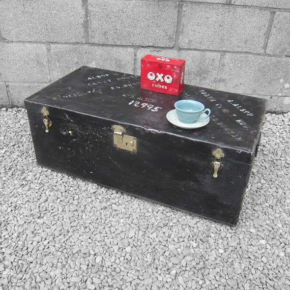 Military Steel Metal Storage Trunk Box Chest Travel Coffee Table