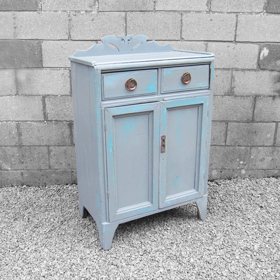 Victorian Painted Cupboard Sideboard Tallboy Grey Blue Farmhouse