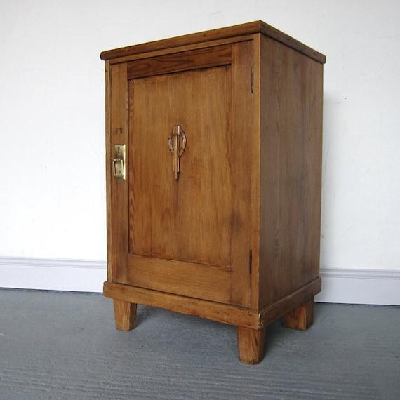 Vintage Art Deco Pine Bedside Lamp Table Cabinet Storage