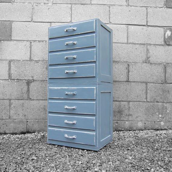 Vintage Muliti Drawers Blue Grey Painted Tall Boy Retro Formica Storage