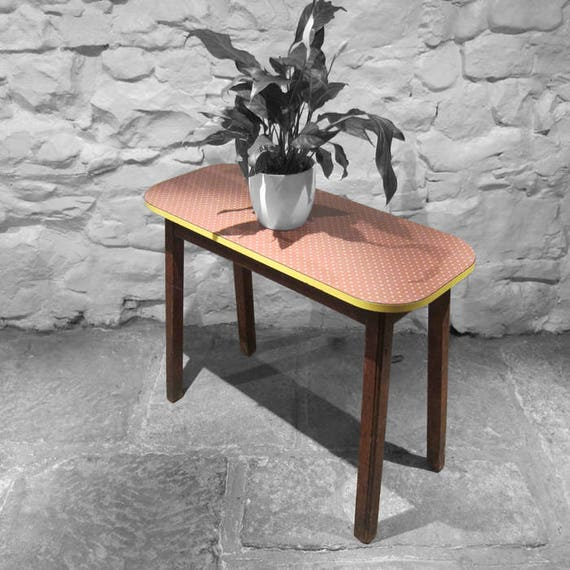 Vintage Formica Side Table Desk Mid Century Kitsch Red Yellow