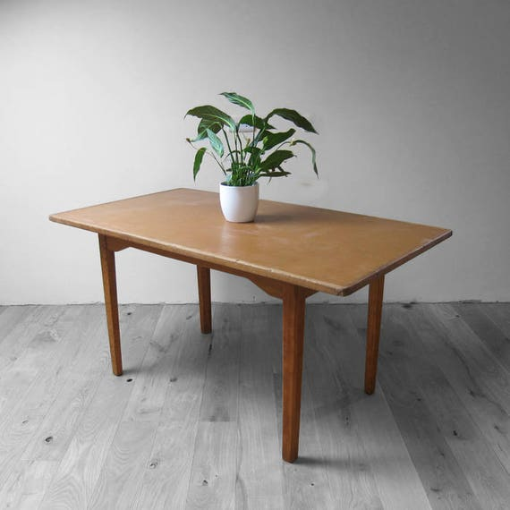 Oak Mid Century Dining Table Retro 1960s Modernist Kitchen