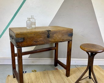 Industrial Table Storage Butcher Block Tools Chest Console Hall Sideboard
