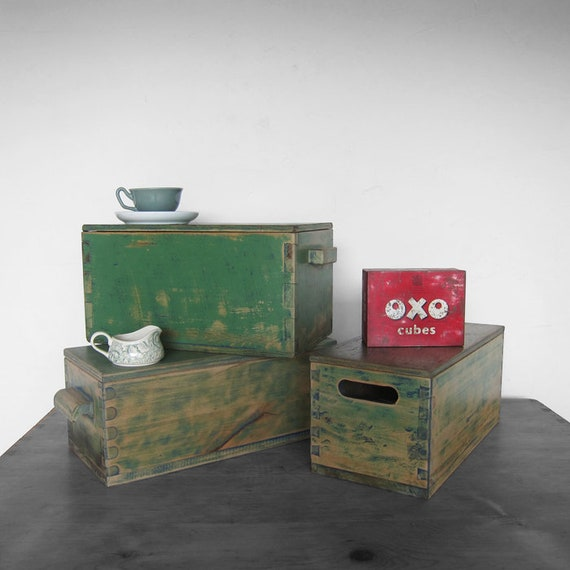 Rustic Vintage Box Chest Green Storage Pine Painted Wooden Display