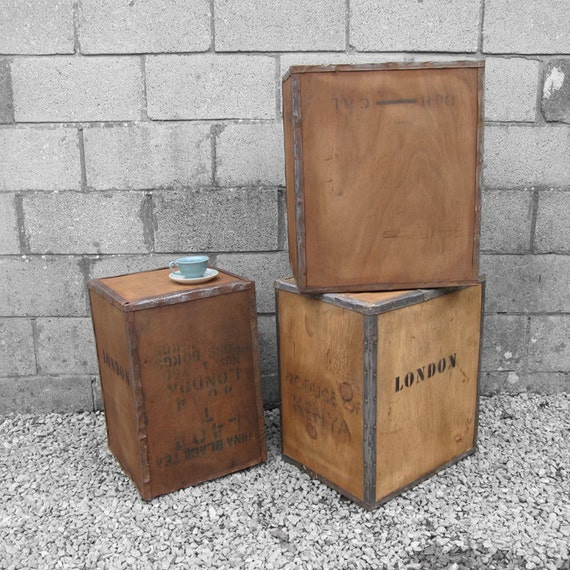 Vintage Tea Chest Trunk Box Crate - Storage Side Table Display Shop DAMAGED