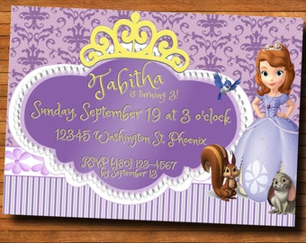 Disney junior invite etsy princess sophia the first custom birthday party invitation digital file m4hsunfo