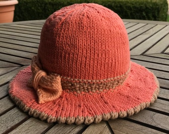 Hand knitted sunhat for babies, children and adults. 100% Cotton yarn -summer, summertime- embellishments- bow or flowers