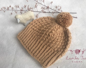 Hand knitted warm winter hat made in chunky wool  available in several sizes from toddler to adult