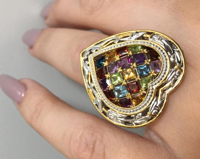 Featured listing image: Multicolor My Heart ! Princess Cut Multi Gemstone Two-tone Sterling Palladium Ring.
