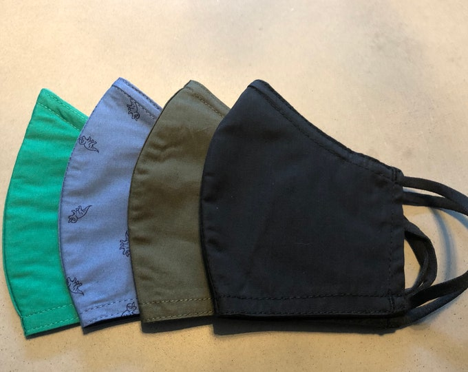Featured listing image: Shipping ASAP! 4 filter pocket nose wire mask set. Reusable Cloth Face Mask, Made in USA.  Machine washable!