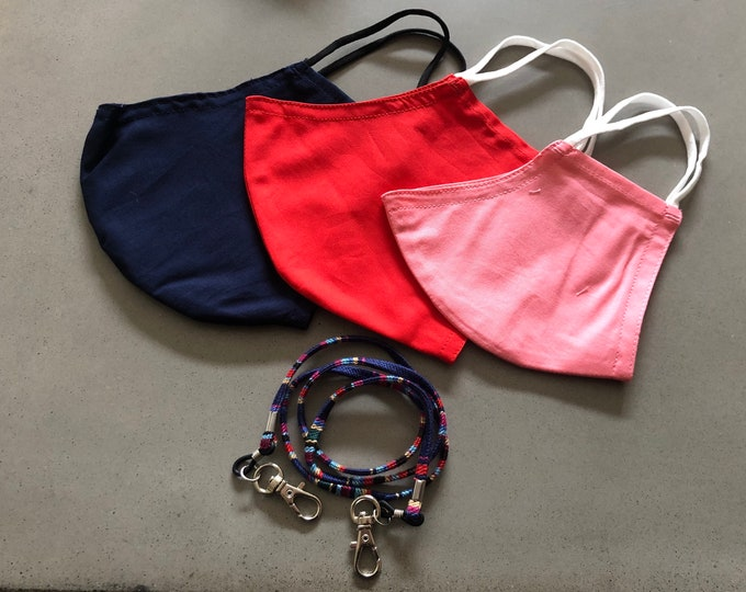 Featured listing image: Shipping ASAP! 3 filter pocket mask set with a mask holder. Reusable Cloth Face Mask, Made in USA.  Machine washable!