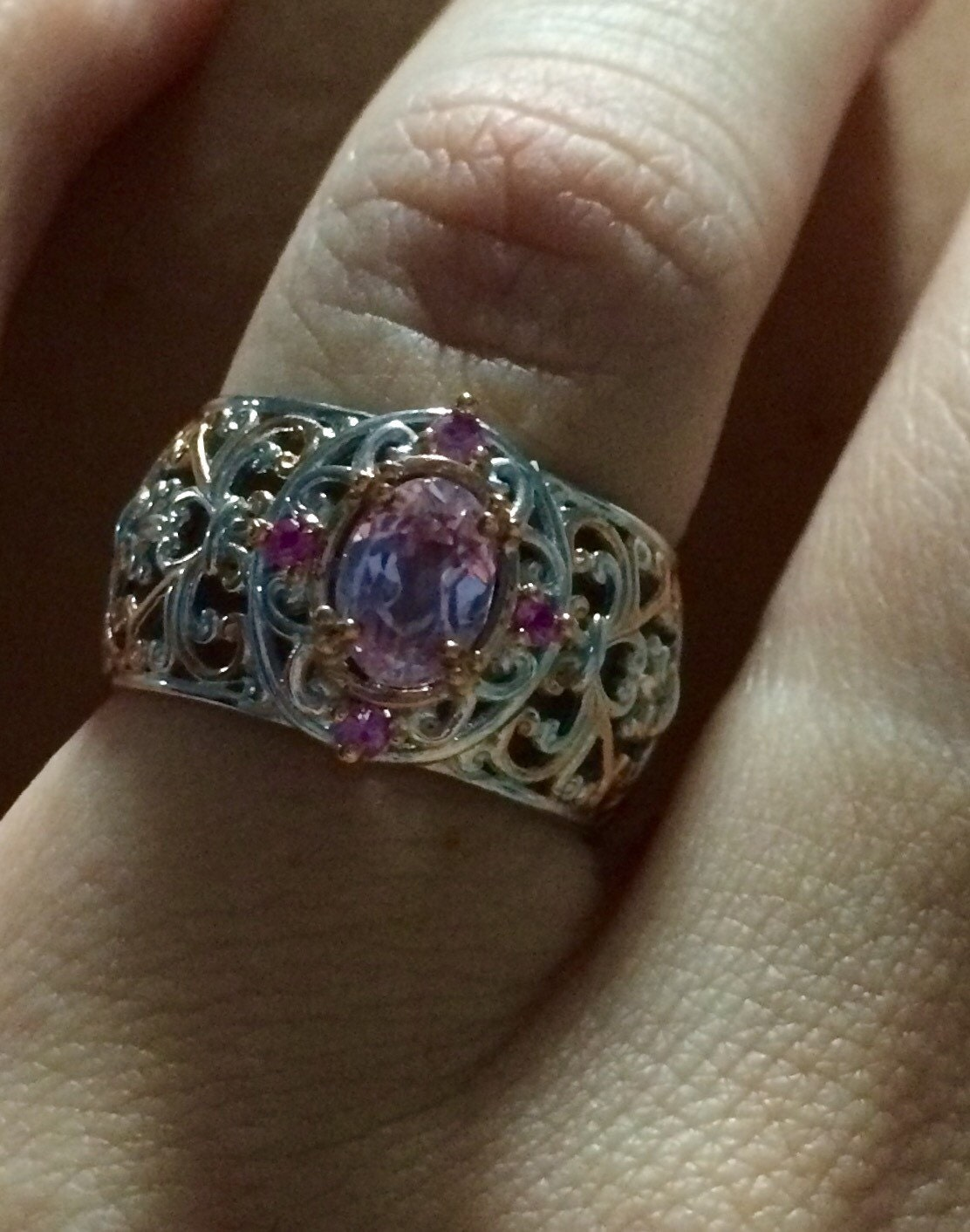 Oval Kunzite and Pink Sapphire sterling silver & palladium ...