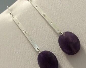 Sterling Silver Purple Amethyst Stick drop Earrings.