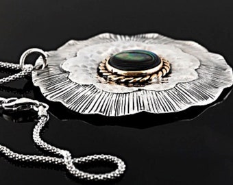 Be Pacific!  12mm Round Abalone Shell Sterling Silver And Copper Pendant With Popcorn-link Chain.