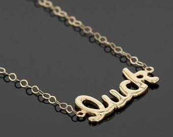 """Feeling LUCKY ! 14k Polished """"Luck"""" Script 17 Inch Necklace"""