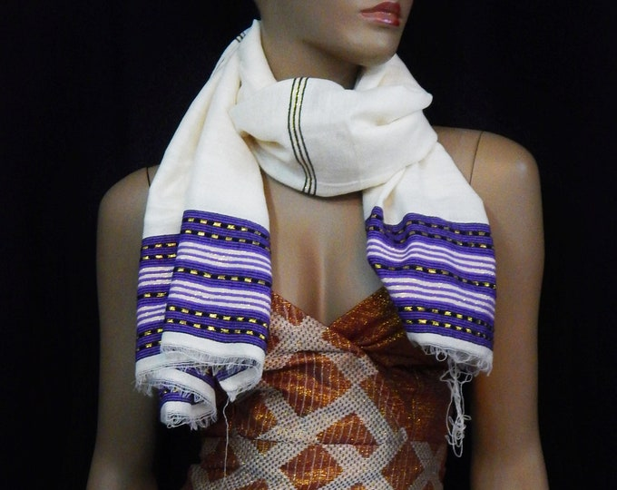 Soft Light White Cotton Scarf with Blue Yarn and Gold Embroidered Finish