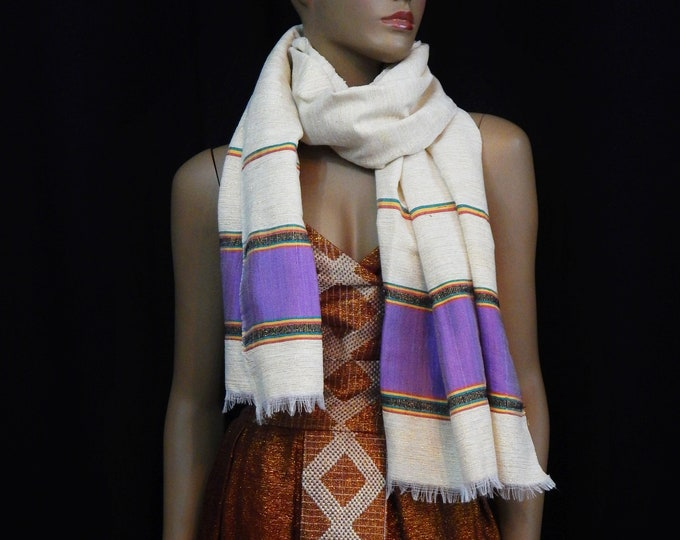 White Hand-Spun Cotton and Gold Scarf with RYG yarn and Purple Saba Finish