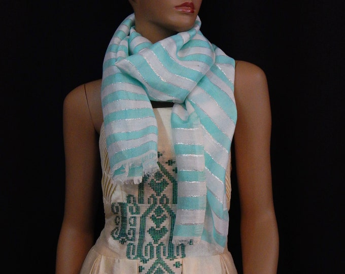Striped Scarf with White Cotton, Turquoise Saba and Shiny Silver Threads