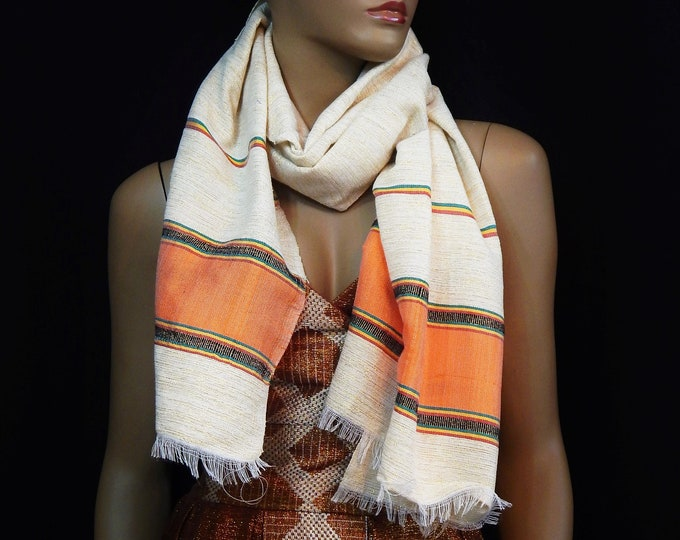 White Hand-Spun Cotton and Gold Scarf with RYG yarn and Orange Saba Finish