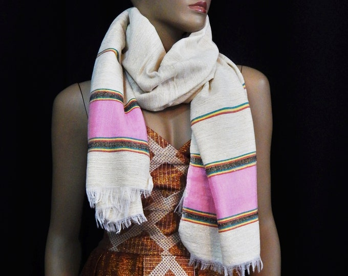 White Hand-Spun Cotton and Gold Scarf with RYG yarn and Pink Saba Finish