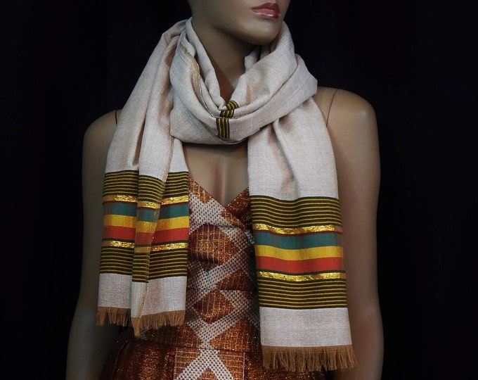 White and Brown Cotton Scarf with Red Yellow Green Yarn Finish