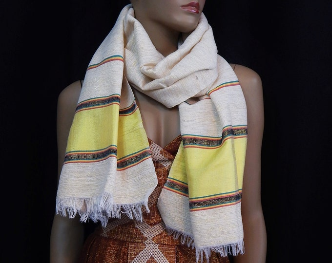 White Hand-Spun Cotton and Gold Scarf with RYG yarn and Yellow Saba Finish