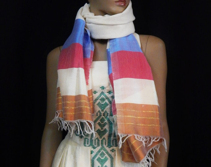 White Hand-Spun Cotton Scarf Striped with Blue Maroon and Tan Saba Finish